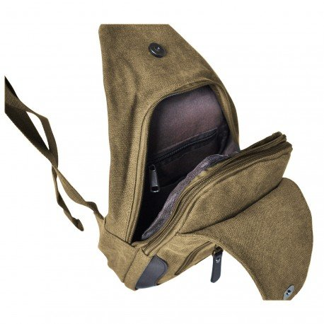 CharmoniAlba –Bolsa de deporte bandolera de tela para hombre marrón