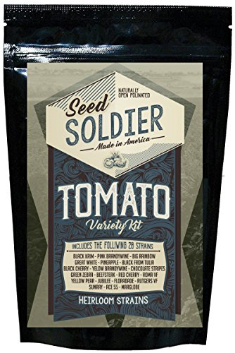 Tomato Seed Pack (Organic Heirloom Tomato Garden Seeds – 20 Non-GMO Varieties: Great White, Big Rainbow, Green Zebra, Pineapple, Pink Brandywine, Black Krim, Chocolate Stripes, Yellow Pear, and 12 More)
