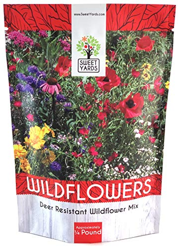 Deer Resistant Wildflower Seed Mixture - Bulk 1/4 Pound Bag - Over 60,000 Deer Tolerant Seeds - Open Pollinated and Non ()