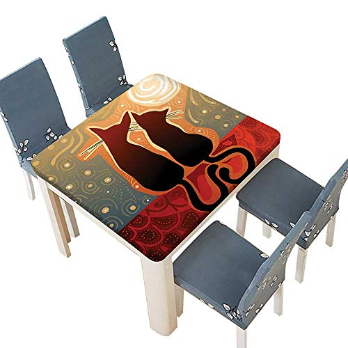 PINAFORE Spring & Summer Outdoor Tablecloth, Affectionate Female Male Cats Love Watching The Moon Luna in a Stary Multicolor 41 x 41 INCH (Elastic Edge) -