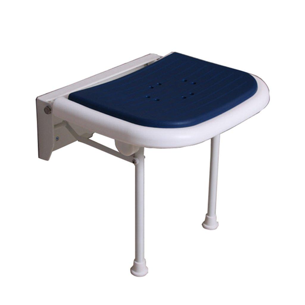 折り畳み可能な壁のシャワーのスツールウォールマウントされたシャワーシートのスツール折りたたみ式通路の椅子変更靴高齢者/障害者のためのスツール調節可能な脚を持つアンチスリップチェアブルーのスツールMax。 250kg B07F5F1B1Q