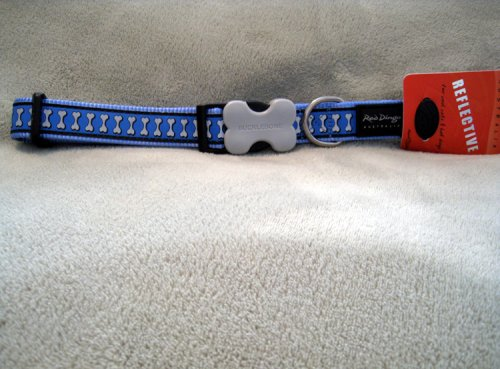 Red Dingo Reflective Safety Dog Collar, Medium, Mid-Blue