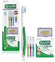 GUM Orthodontic Kit - Orthodontic Toothbrush, 3 Proxabrush Sizes, EasyThread Floss, and Mint Ortho Wax