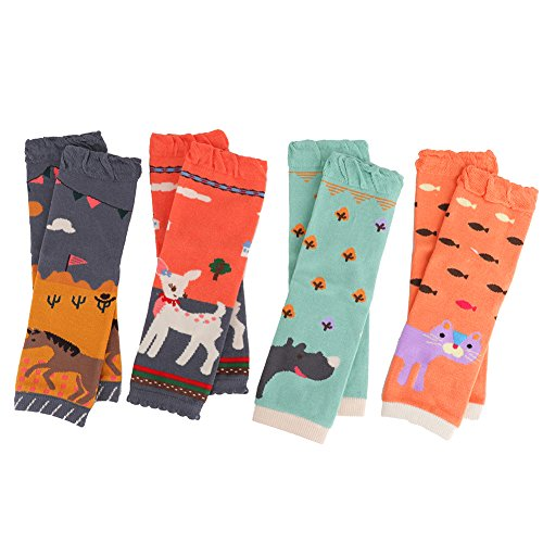 Ehdching 4 Pack Cartoon Animal Baby Leg Warmers Infants Toddlers Baby Boys & Girls Knee Pads Leg Warmers ()