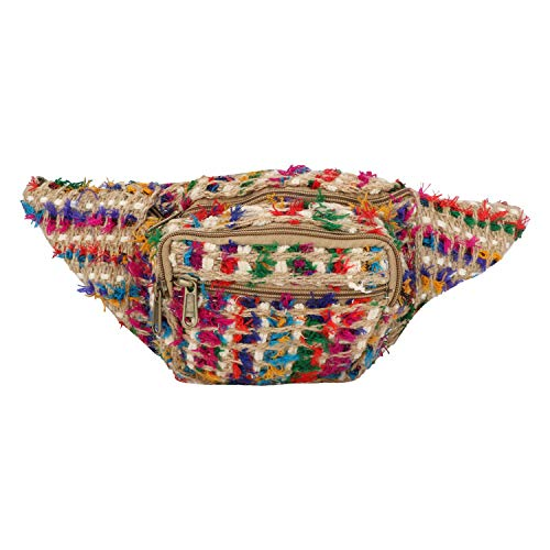 - Jute Fanny Pack,Adjustable Waist and Multiple Pockets,Waist Bag & for all purpose