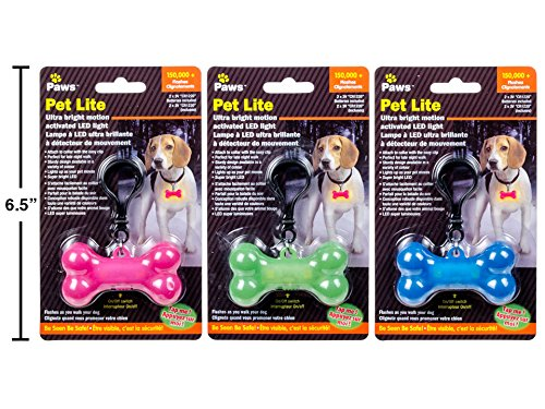 Paws Ultra Bright Motion Activated Bone LED Collar Light 1pc Assorted Colors