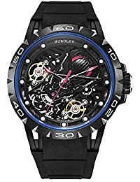 Skeleton Mechanical Men's Watch Tourbillon Automatic Movement Luminous (Blue Black)