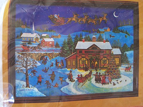 Santa in the Sky Stamped Cross Stitch Kit