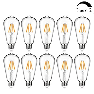 LED Edison Bulb Dimmable, Warm White 2700K, 60W Equivalent, 6W, 800 Lumens High Brightness, ST64 Vintage Filament Light Bulb, LED Antique Bulbs, CRI 90+, E26 Medium Base, Pack of 10