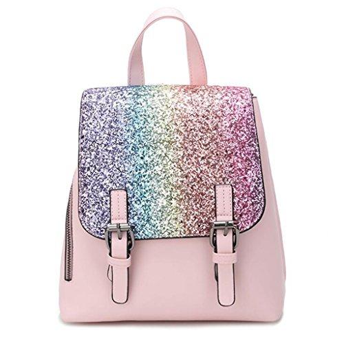 paillettes Pink LIU Cinturino Donna pelle taglia tracolla studente pelle con di in 24 zaino 24cm borsa vacchetta da in viaggio con borsa 12 q6BfxCq