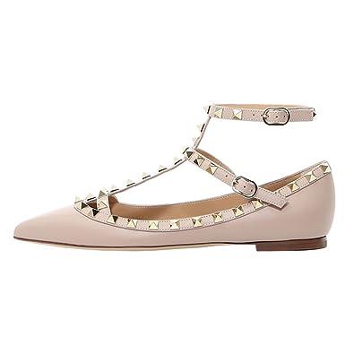 58ee9f6a0e9aa VOCOSI Women s Ankle Strap Studded Pointed Toe Pumps Rivets T-Strap Flat  Pumps Dress Matte