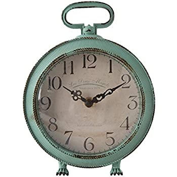 NIKKY HOME Vintage Metal Round Table Clock With Handle And Dragon Feet  Stand For Home Living