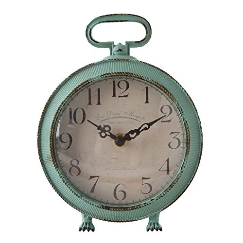 NIKKY HOME Vintage Metal Round Table Clock with Handle and Dragon Feet Stand for Home Living Room Bedroom Decor 5.6'' by 2.2'' by 7.5'', Distressed Aqua Blue