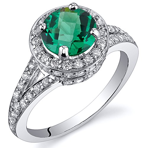Simulated Emerald Halo Ring Sterling Silver 1.25 Carats Sizes 5 to 9