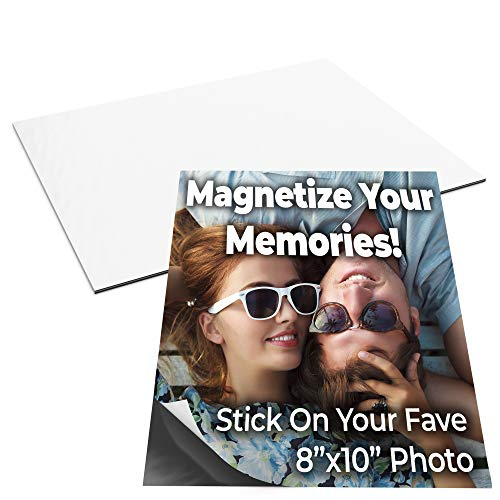 Magnetize Memories with 8x10 in Adhesive Photo Magnets 5pk. Peel-and-Stick Magnetizers Turn School Crafts, Family Pictures or Kids Art Into Durable, Flexible Gifts. Custom Sheets for Fridge or Car