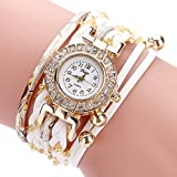 Tootu Women Fine Leather Band Winding Analog Quartz Movement Wrist Watch (White)