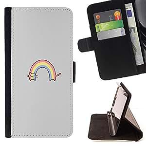 - rainbow cat rainbow drawing cute - - Prima caja de la PU billetera de cuero con ranuras para tarjetas, efectivo desmontable correa para l Funny HouseFOR Samsung Galaxy S6 EDGE