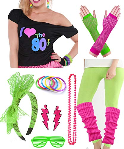 Plus Size Womens 80s Pop Star Party Fancy Costume Outfit T-Shirt Accessory (4XL/5XL, Green)