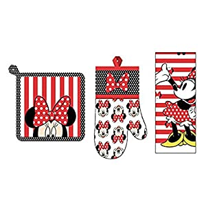 Disney 3 Piece Kitchen Set Minnie Mouse Dots Bows Stripes Towel