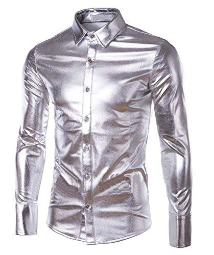 Mens Trend Nightclub Styles Metallic silver Button Down Shirts Silver Medium