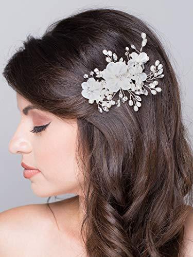 AW BRIDAL Wedding Hair Clip Comb Barrette Flower Crystal Bridal Hair Accessories Silver Pearl Headpieces for Women Wedding