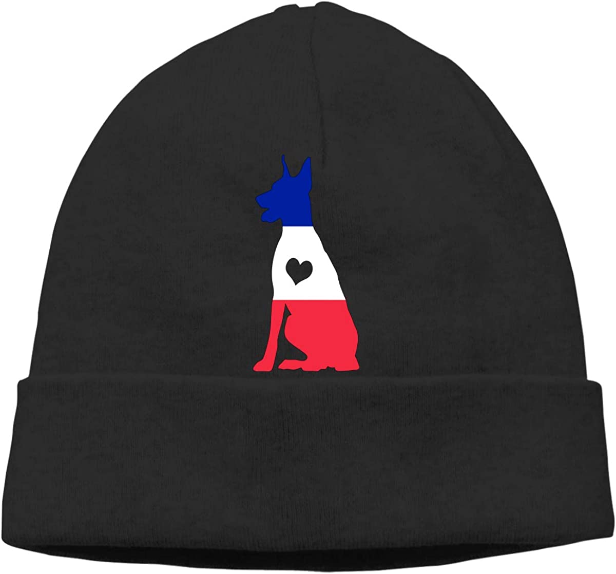 BF5Y3z/&MA France Flag Adore Dobermans Dog Beanie Hat for Men Women,Comfortable Knitted Cap Skiing Cap