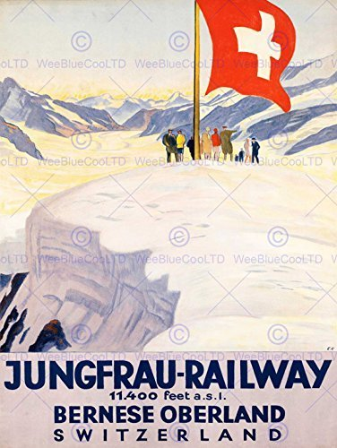 TRAVEL TOURISM JUNGFRAU RAILWAY SWISS FLAG SWITZERLAND ALPS ART PRINT CC2071 ()
