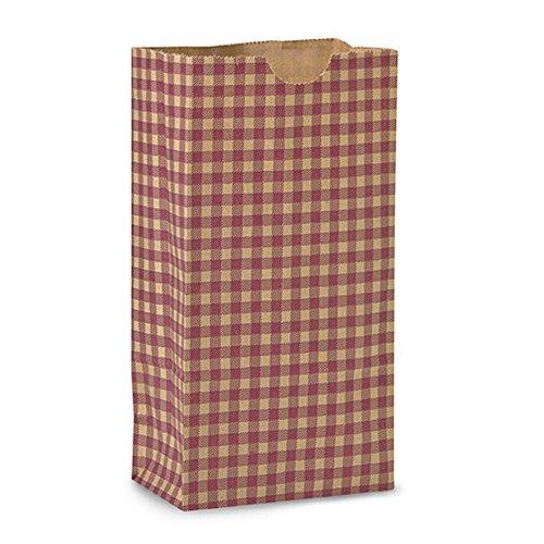 Burgundy Kraft Gingham Gift Sack - 4 1/4 x 2 3/8 x 8 3/16 (50)