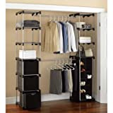 Closet Storage, Silver/Black Made of metal, Home Furniture, Storage Organizing System, Storage Unit, Shelf Unit, Storage Bins, Bedroom, Three Storage Bins, Closet, Clothing, Classic, BONUS e-book