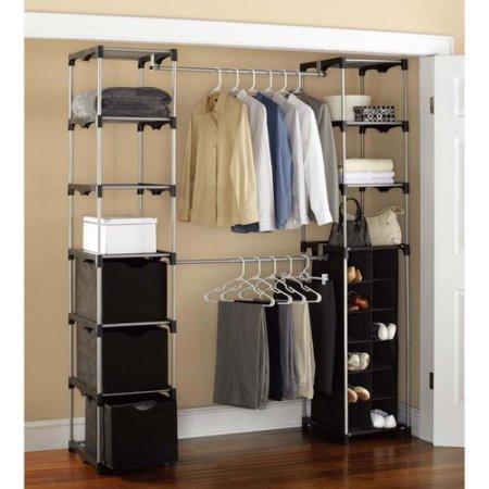 Closet Storage, Silver/Black Made of metal, Home Furniture, Storage Organizing System, Storage Unit, Shelf Unit, Storage Bins, Bedroom, Three Storage Bins, Closet, Clothing, Classic, BONUS e-book by Best Care LLC