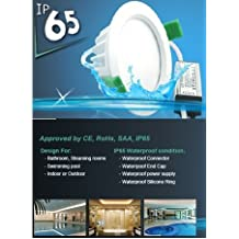 Dimmable LED Waterproof Pot light (3.75 inch) kit - 9W (70W), 6000K - cool white, No housing required - easy install, LED Pot light for Showers, Washrooms, Steam Rooms and Outside, 50,000 hrs, IP65 rating and IC-F insulation rating, Saves 85% energy efficient, LED Pot light, Panel Light, Downlight, Recessed Ceiling Light