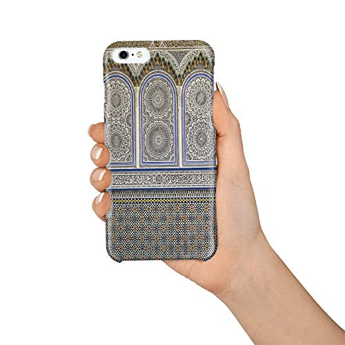 Compatible with iPhone 6 Plus Case and iPhone 6s Plus Case, Hard PC Back Phone Case with Tempered Glass Screen Protector Islam Carved Mural Shockproof Protective Cover