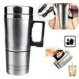 Eaglerich 1PC Stainless Steel 12V Car Auto Adapter Heated Travel Mug Thermos Heating Cup Kettle