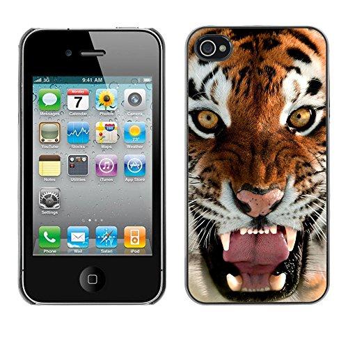 TaiTech / Case Cover Housse Coque étui - Roar Yawn Tiger Angry Feline Cat Big - Apple iPhone 4 / 4S