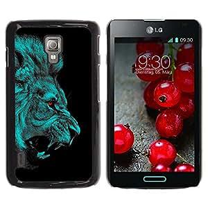 Qstar Arte & diseño plástico duro Fundas Cover Cubre Hard Case Cover para LG Optimus L7 II P710 / L7X P714 ( Lion Angry Red Eyes Vampire Animal Cat Jungle)