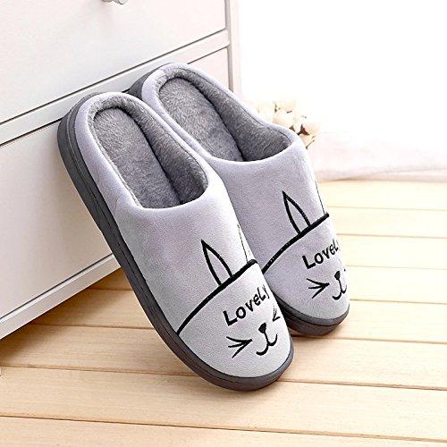 de par invierno interior Gris1 encantador gruesos de zapatillas de y home DogHaccd femenina zapatillas de mitad la Cálido antideslizante felpa Zapatillas algodón axf8q74