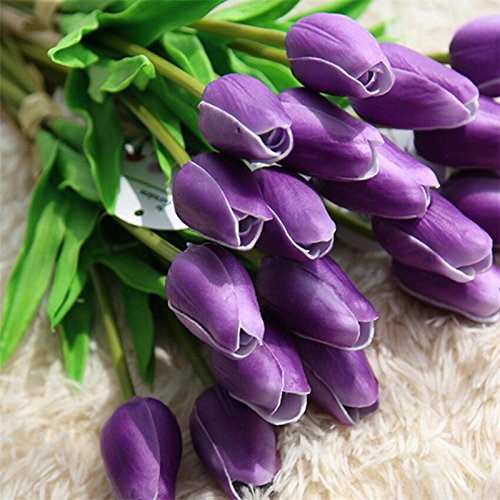 (Annibus Flower Tulip: The Bouquet of 36PCS Purple Tulips PU Artificial Flower for Home & Garden Indoor Decoration)