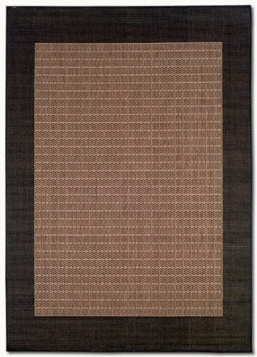 Couristan 1005/2500 Recife Checkered Field/Cocoa-Black 2-Feet 3-Inch by 7-Feet 10-Inch Runner Rug