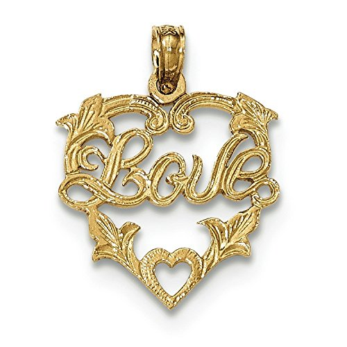 En or 14 carats entièrement poli et texturé Love In Heart Pendentif avec bordure florale JewelryWeb