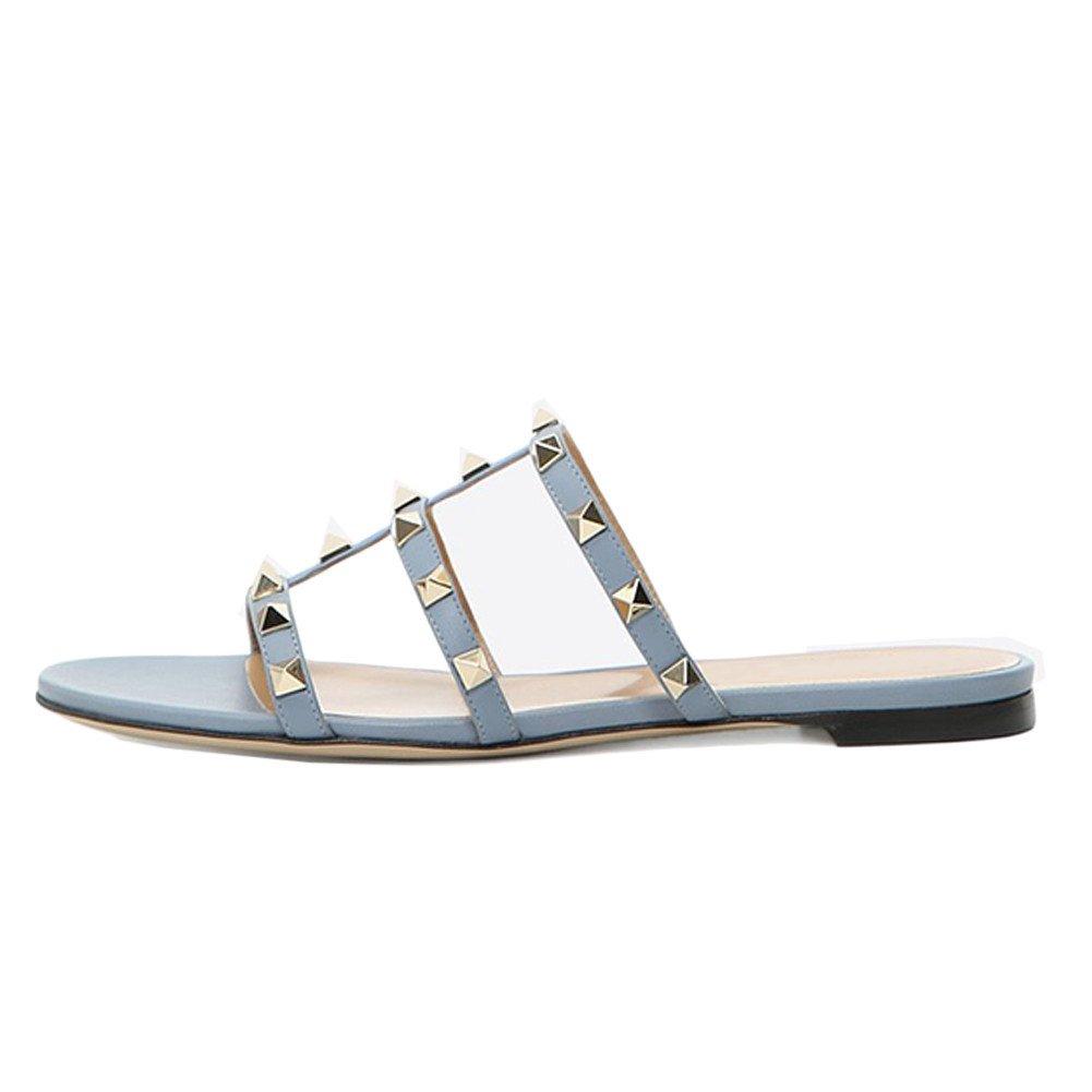 VOCOSI Women's Flat Heel Sandals Rivets Slide Slipper Dress Casual Summer Light Purple 11 US