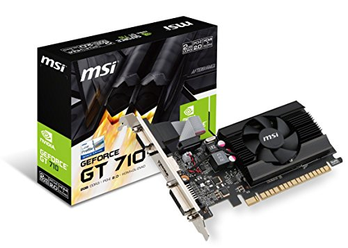 MSI Gaming GeForce GT 710 2GB GDRR3 64-bit HDCP Support DirectX 12 OpenGL 4.5 Single Fan Low Profile Graphics Card (GT 710 2GD3 LP) (Video Card Nvidia 2gb)