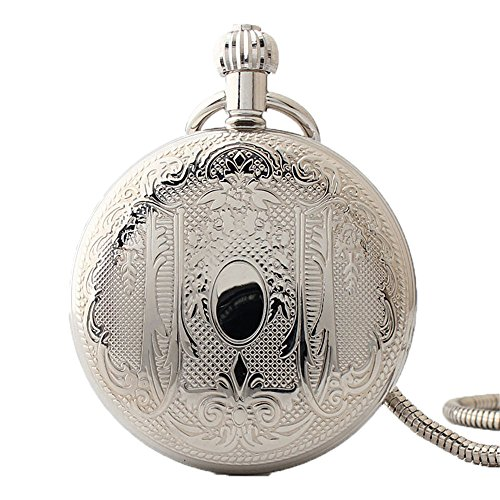 Zxcvlina Classic Smooth Exquisite Carving Retro Pocket Watch Silvery Boutique Unisex Mechanical Pocket Watch with Chain Suitable for Gift Giving by Zxcvlina
