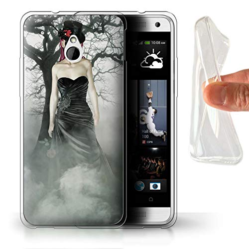 STUFF4 Gel TPU Phone Case/Cover for HTC One/1 Mini/Black Dress Woman Design/Day of The Dead Festival ()