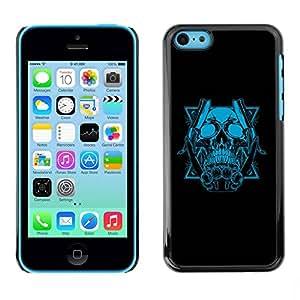 PC/Aluminum Funda Carcasa protectora para Apple Iphone 5C Blue Skull & Blades / JUSTGO PHONE PROTECTOR