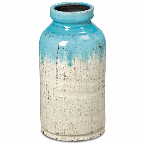 Whole House Worlds The Beach Chic Vase, Turquoise Blue and Cream Ombre, Artisinal Rustic Crackle Finished Glaze, Hand Rubbed, Distressed Stoneware, Milk Bottle Shape, 11 Inches Tall