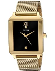 GUESS Mens Stainless Steel Diamond Dial Watch, Color: Gold-Tone (Model: U1074G3)