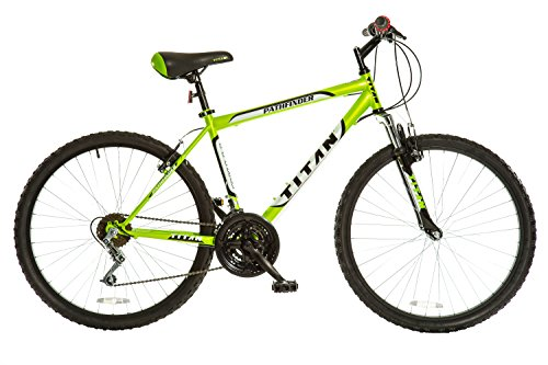 Titan Pathfinder Mens 18-Speed All Terrain Mountain Bike with Front Shock Suspension, Lime Green