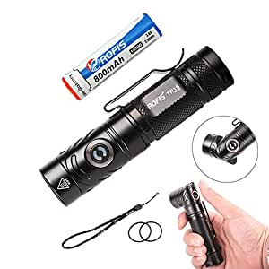 Rofis TR15 700 Lumens CREE XP-L HI V3 LED Adjustable-head EDC Flashlight Multi-Functional Usage Angle Light for Outdoor and Indoor Lighting With 14500 Rechargeabe Battery