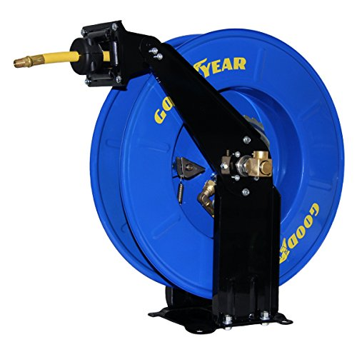 Goodyear 50' x 3/8'' Dual Arm Air Hose Reel W/Made in USA Hose by Grip Goodyear