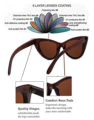Wood Polarized Cat Eye Sunglasses For Women Wayfarer Style - 100% UV Protection (Brown, Brown) by RTBOFY (Image #2)